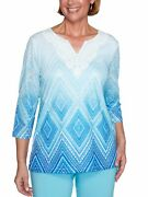 Alfred Dunner Womenand039s Sea You There Diamond Lace Ombre Shirt