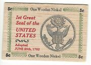 1st Great Seal Of The United States Of America Thin Flat 3x2 Wooden Nickel