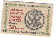 2nd Great Seal Of The United States Of America Thin Flat 3x2 Wooden Nickel