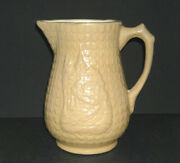 A. E. Hull Potery Embossed Yellow Ware Castle Pitcher - Stoneware - Ohio