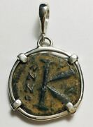 Ancient Byzantine Empire K Bronze Coin Sterling Silver Pendant