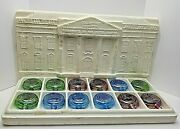 Vintage Wheaton Presidential Collector's Decanters Glass Flasks Set Of 12 1971