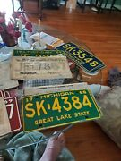 Large Lot Vintage Metal Michigan License Plates 50and039s 60and039s 70and039s