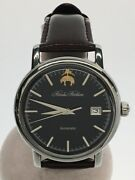 Secondhand Brooks Brothers Automatic Watches Analog Leather Navy Brown Clothing