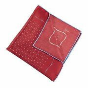 Brioni Red Blue 100 Silk Dotted Bordered Glossy Satin Hand Rolled Scarf