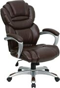 Flash Furniture High Back Split Leather Executive Office Chair With Padded Loop