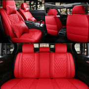 Pure Red Leather Car Suv 5-seat Cushions Auto Accessories Interior Fully Cover