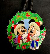 Disney Pin Lanyard Wdw Parks Rare Cast Exclusive Mickey Minnie Mouse Christmas