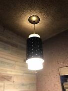 Vintage Mid Century Ceiling Lamps Lights Cylinder 1960 1970 Metal/frosted Glass
