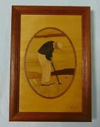 Hudson River Inlay Golf Putter Wood Marquetry Vintage Signed Nelson Framed 10