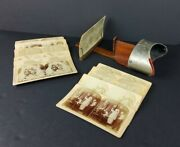 H.c. White Stereo Scope Antique 1885 Wood And Metal Picture Viewer And Cards