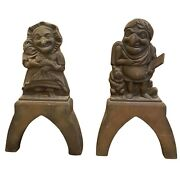 Antique Victorian Cast Iron Punch And Judy Puppets Door Stop Fireplace Andirons