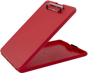 Plastic Storage Clipboard Recordkeeping Office Supplies Snap Closure Clear Red