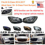 For 13-17 Mercedes S-class W222 Multibeam Headlights Afs Facelift Upgrade Led Lr