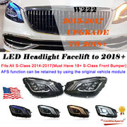 For 13-17 Mercedes W222 Headlights S-class Afs Facelift Upgrade 2018+ Led L+r