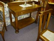 Antique Oak Server Buffet 1900and039s Refinished Restored Sideboard Dining Room
