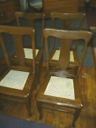 Antique Oak Chairs Set Of 4 T-backs 1920and039s Cane Seats Refinished