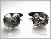 Huge Gorgeous Cufflinks Antique Russian Sterling Silver 875 Rock Crystal Gp