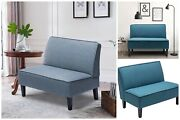 Loveseat Sofa Couch Upholstered Linen Fabric Cushioned Wooden Legs
