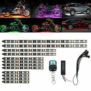 12pcs Motorcycle Led Neon Strip Lamp Rgb 15-colors Remote Control Under Glow