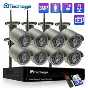 Techage H.265 8ch 3mp Wireless Video Camera System Outdoor Audio Record Wifi Ip