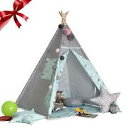 Canvas Teepee Tent Kids Teepee Tipi With Grey Pom Poms Indian Play Tent House