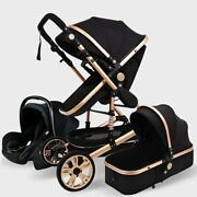 High Landscape Baby Stroller 3 In 1 With Car Seat Pink Stroller Set Luxury