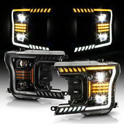 [two Tone Sequential Signal/parking Tube]full Led Dual Headlamp For 18-20 F150