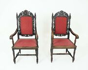 Antique Pair Of Arm Chairs Hand Carved Oak Throne Chairs Scotland 1880 B2415