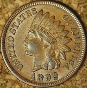 1892 Indian Head Cent - Beautiful Extra Fine+ As Shown M136