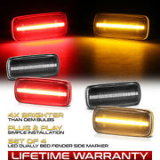4pc Clear Lens Amber Red Led Rear Side Marker Lamp For 2010-2018 Ram 3500 Dually