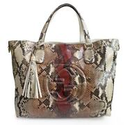 Soho Python Tassels Tote Bag Women And039s 282303 Brown System