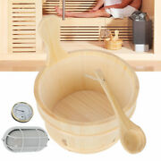 Sauna Wooden Bucket And Ladle Kit Sauna Accessories With Thermometer Water Scoop