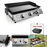 3 Burner Grill Portable Propane Gas Outdoor Cooking Flat Table Top Bbq Griddle