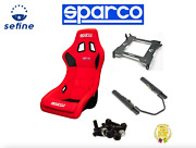 Sparco Qrt-r Red Seat W/ Base + Track Set + Mount Kit For 05-20 Chevy Corvette