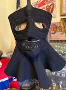Vintage Wwii Usn Us Navy Dark Blue Wood Extreme Cold Weather Face And Neck Mask.