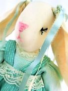 Vintage Cloth Rag Doll Rabbit Handcrafted Easter Shabby Chic Country Folk Decor
