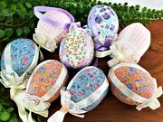 Vintage Handmade Easter Eggs 8 Floral Fabric Ornaments For Basket Shabby Chic