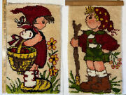 2 Vtg '80s Completed Latch Hook Hummel Peasant Girl And Boy Wall Hanging Rug 16x27