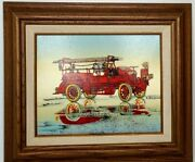 H. Hargrove Serigraph Lake Wood Fire Dept. Fire Truck Ladder Co. Oil