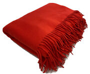 Loro Piana 100 Cashmere Large Red Unito Blanket Made In Italy