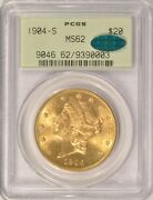 1904-s 20 Liberty Gold Double Eagle Pcgs Ms-62 Cac Approved Old Green Holder