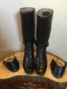 Old West Cowboy Blk Sz 9 Leather 17 Stovepipe Boots By Jr Reyes W/spurs Andstraps
