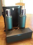 Vintage Alladin Stanley Thermos Picnic Set Leather Case Metal Box Fox Hunt Style