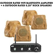 Outdoor System 200w Amplifier And 4 Brown 5.25 Rock Speakers Wi-fi Bluetooth