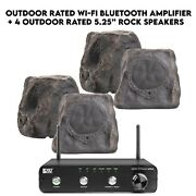 Outdoor System 200w Amplifier And 4 Slate 5.25 Rock Speakers Wi-fi Bluetooth