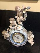 Lladro Angelic Time Clock 5973 With Cherubs And Flowers On A Globe Retired