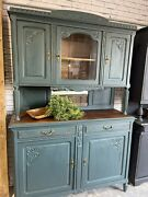Antique French Provincial Hutch, Farmhouse, Refinished