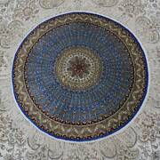 Yilong 3and039x3and039 Handknotted Silk Carpet Blue Round Dome Design Indoor Rug Tj170a