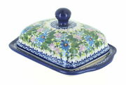 Blue Rose Polish Pottery Lavender Meadow Butter Dish